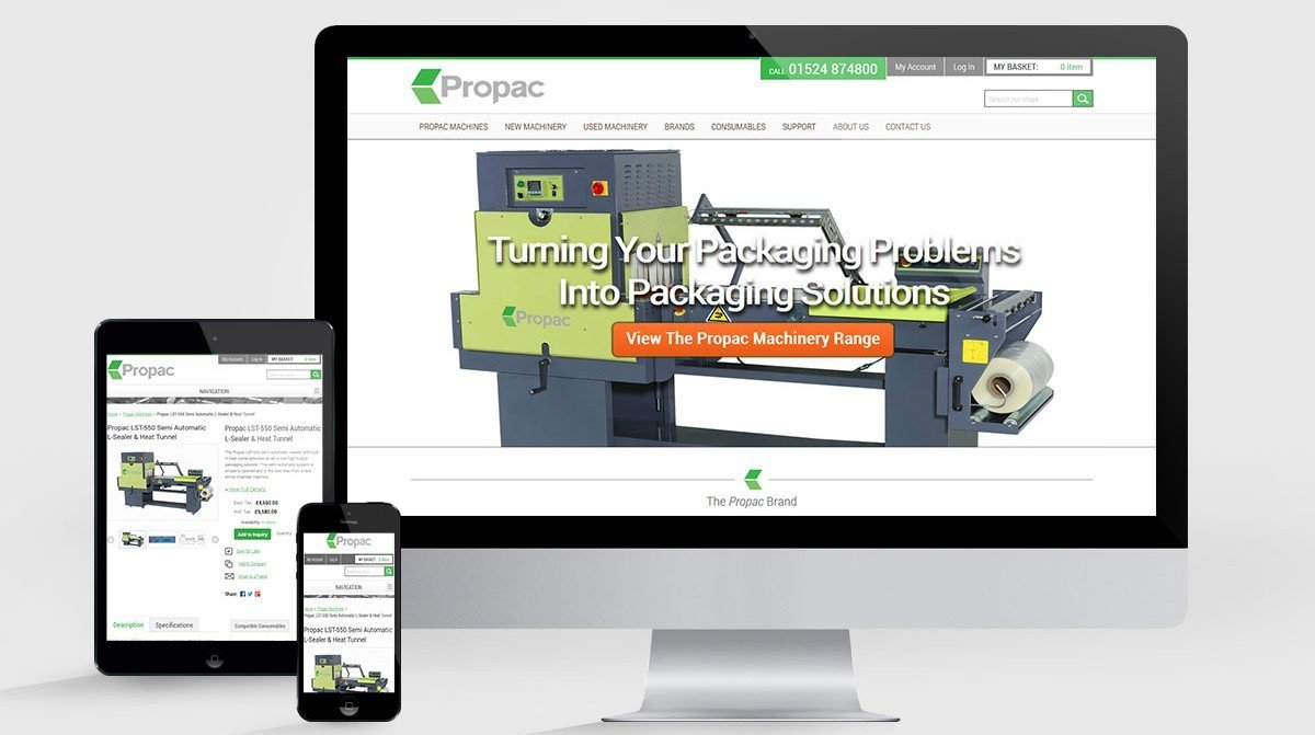 Website Design for Propac Machinery in Morecambe (near Lancaster)